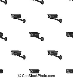 Hidden camera icon in black style isolated on white background. Hotel pattern stock vector illustration.