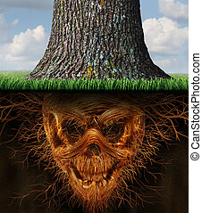 Hidden danger and risk as a business concept as a growing tree trunk with underground plant roots shaped as an evil human skeleton skull as a symbol of dishonesty and dangers of fraud.