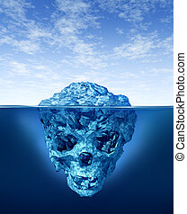 Hidden dangers with a deceptive hazardous iceberg floating in cold arctic ocean water with a small part of the frozen ice mountain above the sea and the hidden bottom part in the shape of a death human skull skeleton.