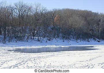Hidden Falls Park River Bluffs Winter Scenic