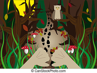 hidden forest tracks - hidden human foot prints in the...