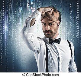 Hidden identity of a hacker under the mask