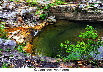 Hidden Pool - Hidden pool has calm and still surface. Water ...