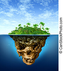 Hidden Risk and false advertising concept with a beautiful tropical island on the sea as a natural green paradise contrasted with an under water shaped as a dark evil skeleton skull as a symbol of dishonesty and dangers of fraud.
