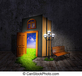 Hidden Room. Concept book, a lantern and a bench, with a door to the night glade.
