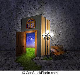 Hidden Room.Concept book, a lantern and a bench, with a door...
