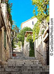 Hidden street in Hvar city in Croatia