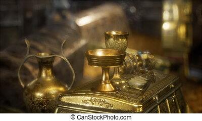 hidden golden treasures in dark cave