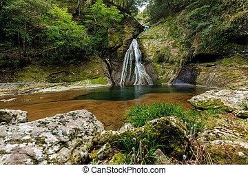 Hidden waterfall in Japan
