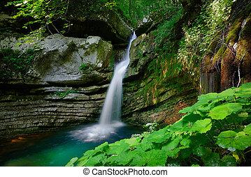 Hidden waterfall in the deep forest of Slovenian Alps