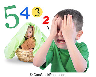 Hide and Go Seek Numbers Game on White - Two children are...