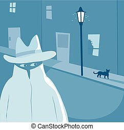 A film noir style image of a secret agent type lurking in the street and a silhouette figure in a window.