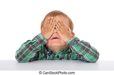 Hide and seek - Cute caucasian boy hides himself. All on ...