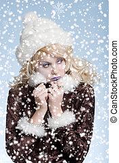 hideg, nő, hó