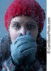 hideg, nő, mögött, nedves, pohár