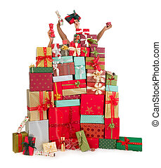 Hiding behind christmas presents