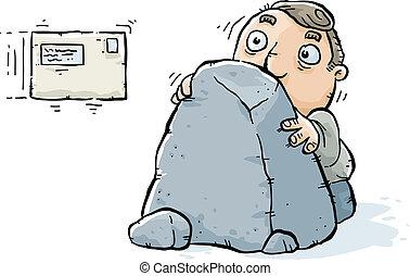 Hiding from Bills - A cartoon man hides behind a rock,...