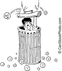 Vector cartoon of a man hiding from hail in a garbage can.