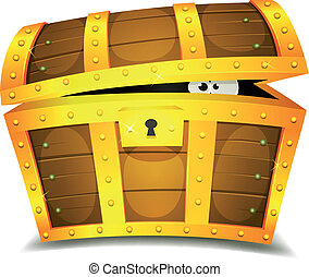Hiding Inside Treasure Chest - Illustration of a cartoon...