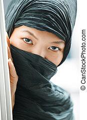 Hiding - Oriental lady in black hijab hiding