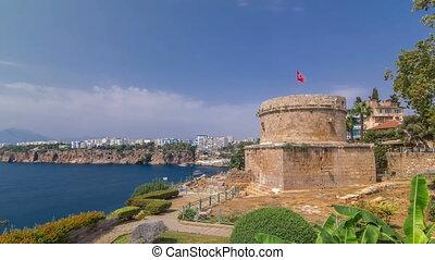 hidirlik, wieża, w, kas, miasto, w, antalya, timelapse, hyperlapse, z, prospekt, od, port, marynarka, zatoka, jest, niejaki, stare miasto