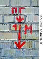 hidrante, 1, m, como, vermelho, mensagem, ligado, linguagem russa, aviso, detalhes