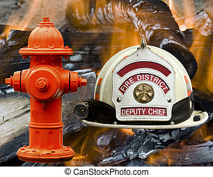 hidrante, chamas, fogo, sobre, bombeiro, fundo, chapéu