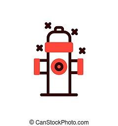 hidrante, vetorial, isolado, fogo, desenho