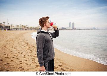 hidratando, el suyo, organismo, deportista