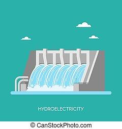 hidroeléctrico, factory., style., industrial, concept., ilustración, potencia, vector, hydro, fondo., plano, estación, energía, planta