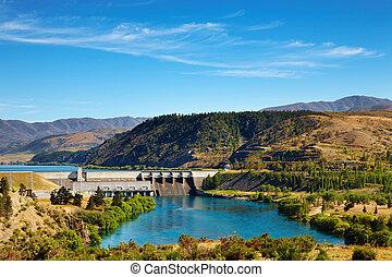 hidroeléctrico, zealand, dique, aviemore, nuevo