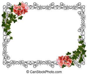 hiedra, invitación, frontera, floral