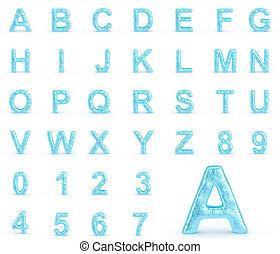 hielo, alfabeto, con, números