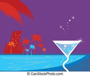 hielo, cóctel, noche, agua, piscina, y, árboles de palma