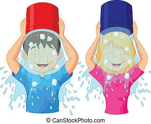 hielo, caricatura, cubo, desafío