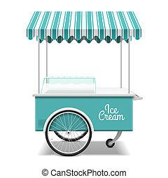 hielo, carrito, crema