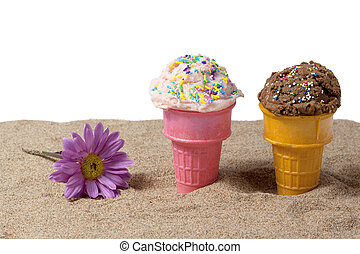 hielo, chocolate, fresa, playa de arena, crema