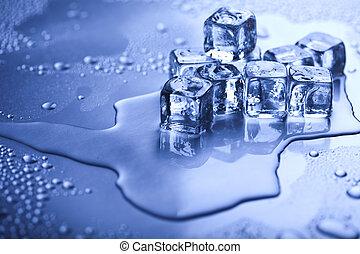 hielo, derretimiento, cubos