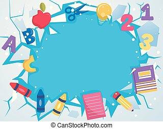 hielo, grieta, educación, elementos, plano de fondo