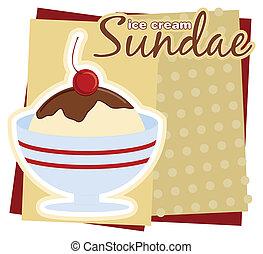 hielo, helado con frutas y nueces, crema