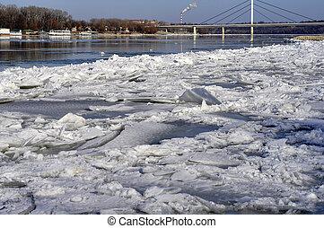 hielo, hojas, flotador, en, el, río, danubio