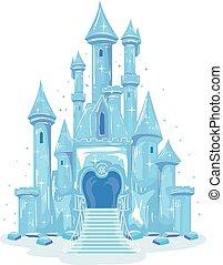 hielo, ilustración, castillo
