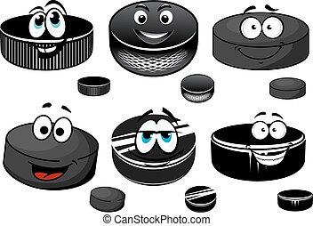 hielo, negro, hockey, caracteres, pucks, caricatura