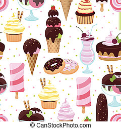hielo, patrón, crema, seamless, dulces