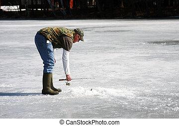 hielo, pescador