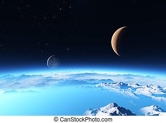 hielo, planeta, con, un, luna