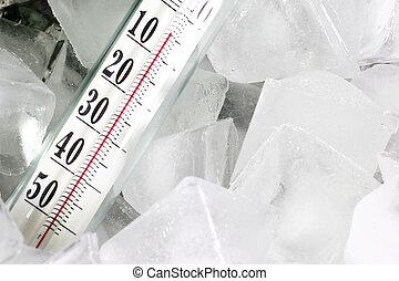 hielo, termómetro
