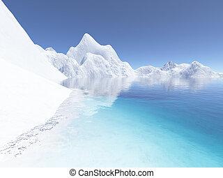 hielo, tierra
