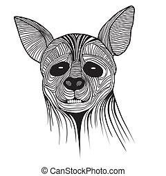 hiena, bosquejo, símbolo, animal