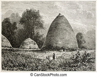 Hienghene village old view, New Caledonia. Created by Moynet...